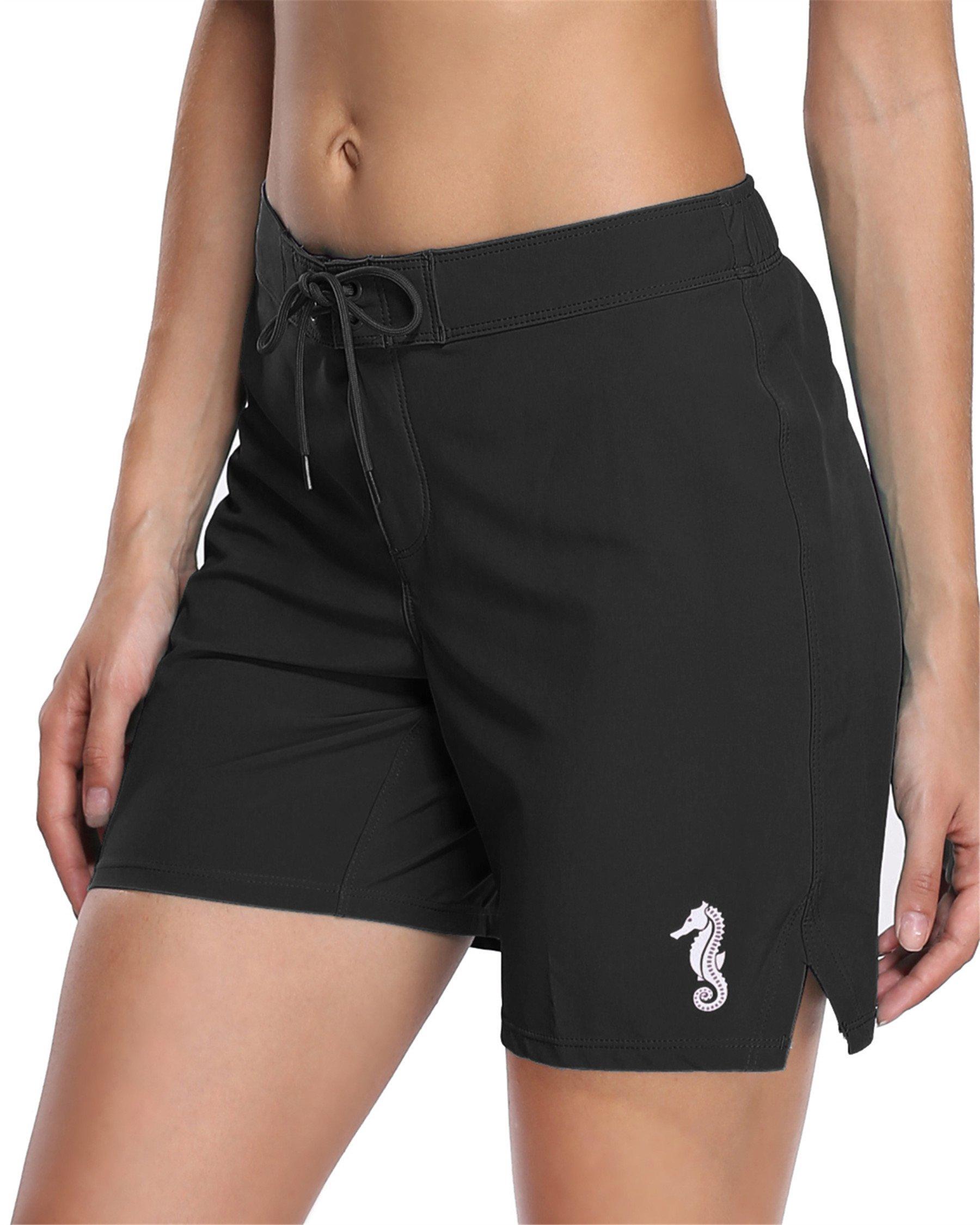 Maysoul Women Swim Shorts Surf Short Beach Bottom Bathing Suits Black XXXL