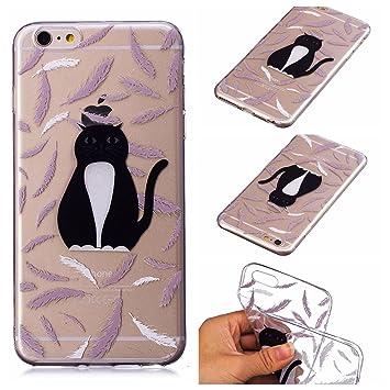 Funda iphone 6/iphone 6S Silicona Transparente,QFUN Suave Carcasa Flexible con Dibujos [Gato Negra] Ultra Slim Fina Gel TPU Bumper Case Anti-rasguños ...