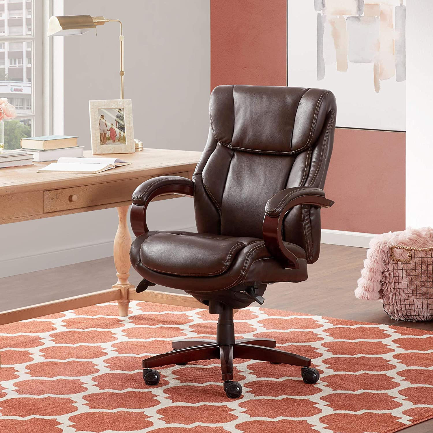 La-Z-Boy Bellamy Executive Bonded Leather Office Chair – Coffee Brown