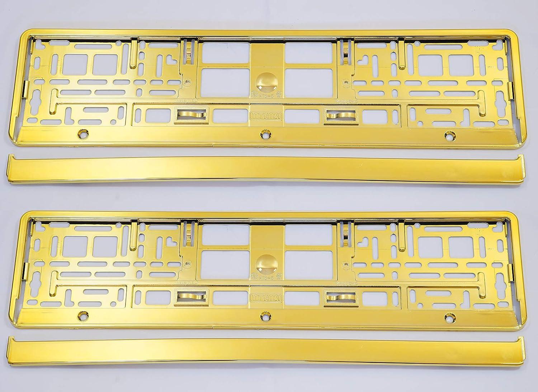 Set 2 X Premium Kennzeichenhalter Kennzeichenhalterung Nummernschildhalter Neu Gelb Auto