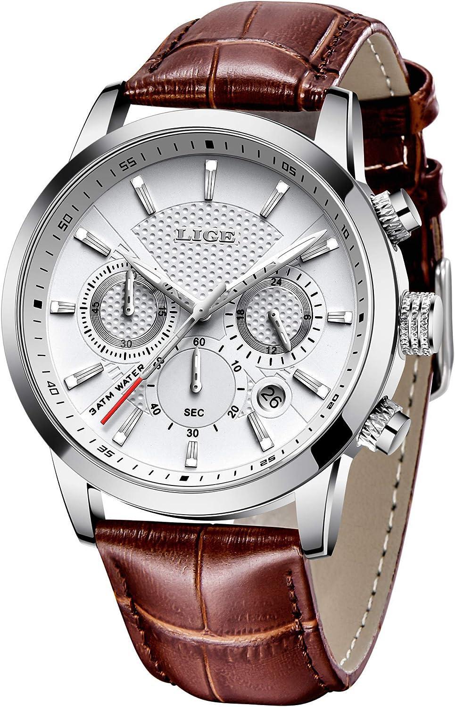 Reloj Hombre LIGE Moda Reloj de Cuarzo analógico Impermeable Clásico Correa de Cuero Negro Fecha/Calendario Reloj …