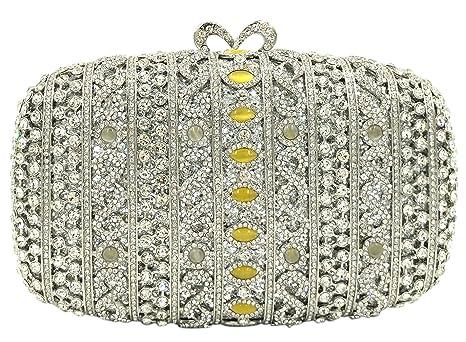 Carteras Bolso Mujer Noche Bolsas Fiesta Boda Brillo Mano Diamantes Cadena Embrague Plateado