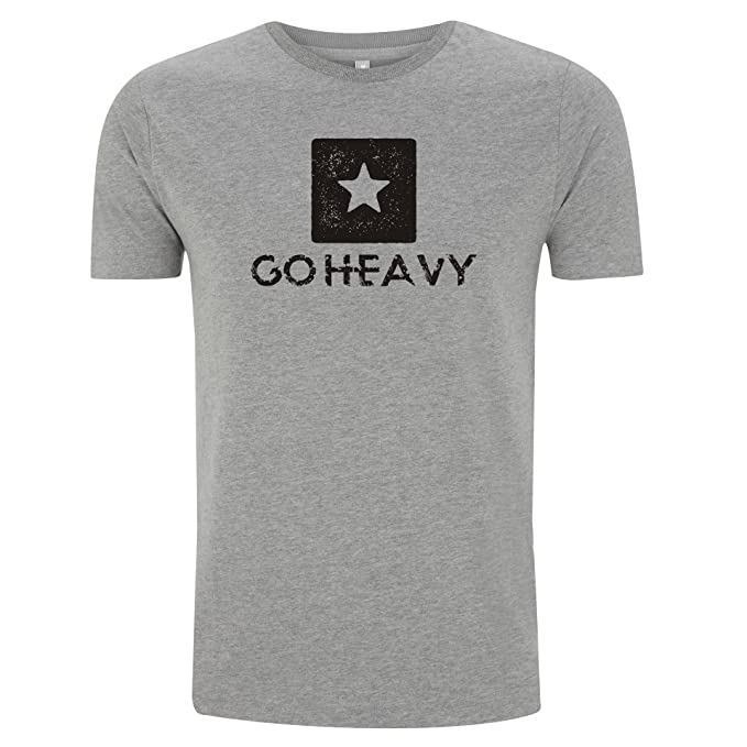 GO HEAVY Camiseta Para Hombre - Star Logo - Gris (M)