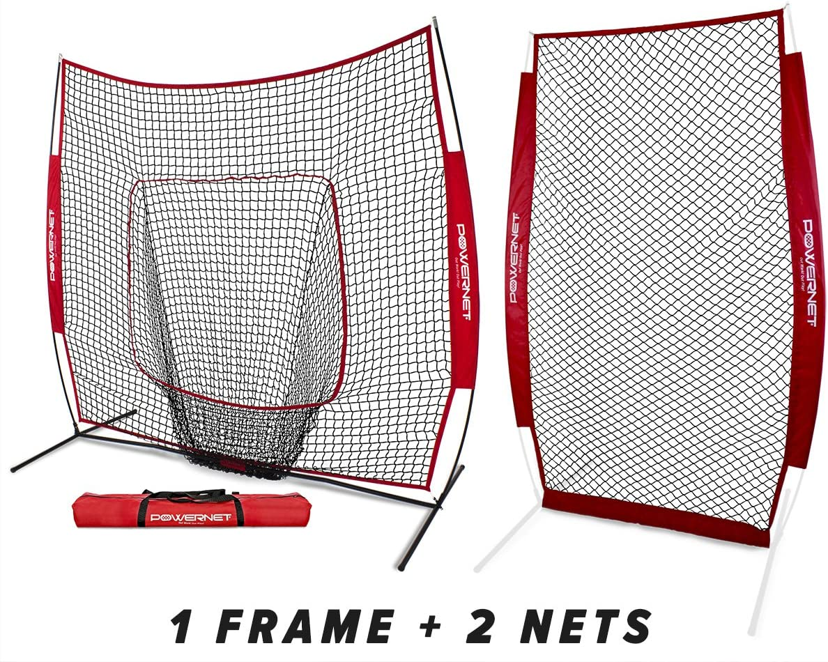 PowerNet Baseball Softball Practice Net 7×7 Bundle I-Screen 1 Frame 2 Nets Training Aid Equipment Instant Pitcher Barrier from Line Drives Grounders Front Toss Hitting Fielding Drills