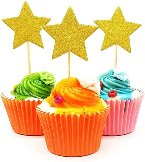 Cupcake Picks with Stickers 12 Count Twinkle Twinkle Little Star Baby Shower or Birthday Party Cupcake Toppers