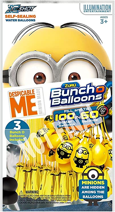 3 Bunches Minions and Red White and Blue Bunch O Balloons ZURU Self-Sealing Water Balloons Bundle 3 Bunches