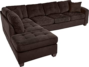 Homelegance Emilio 110 X 78 Fabric Sectional Sofa Chocolate
