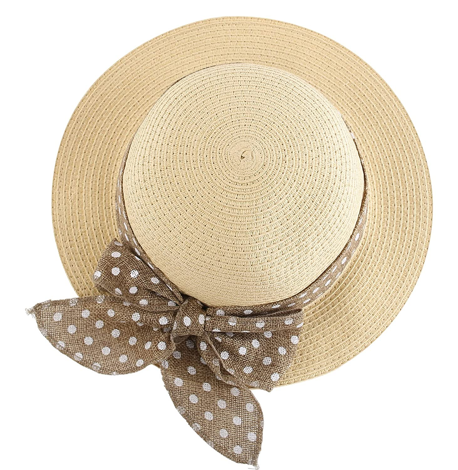 348a51df274 Amazon.com  Connectyle Kids Summer Straw Hat Bowknot Beach Sun Protection  Hats for Girls  Clothing