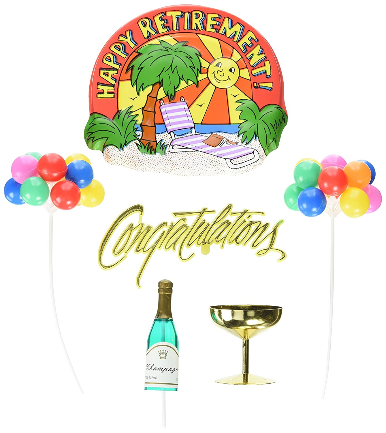 Oasis Supply Happy Retirement Party Cake Topper Decorating Kit 650054
