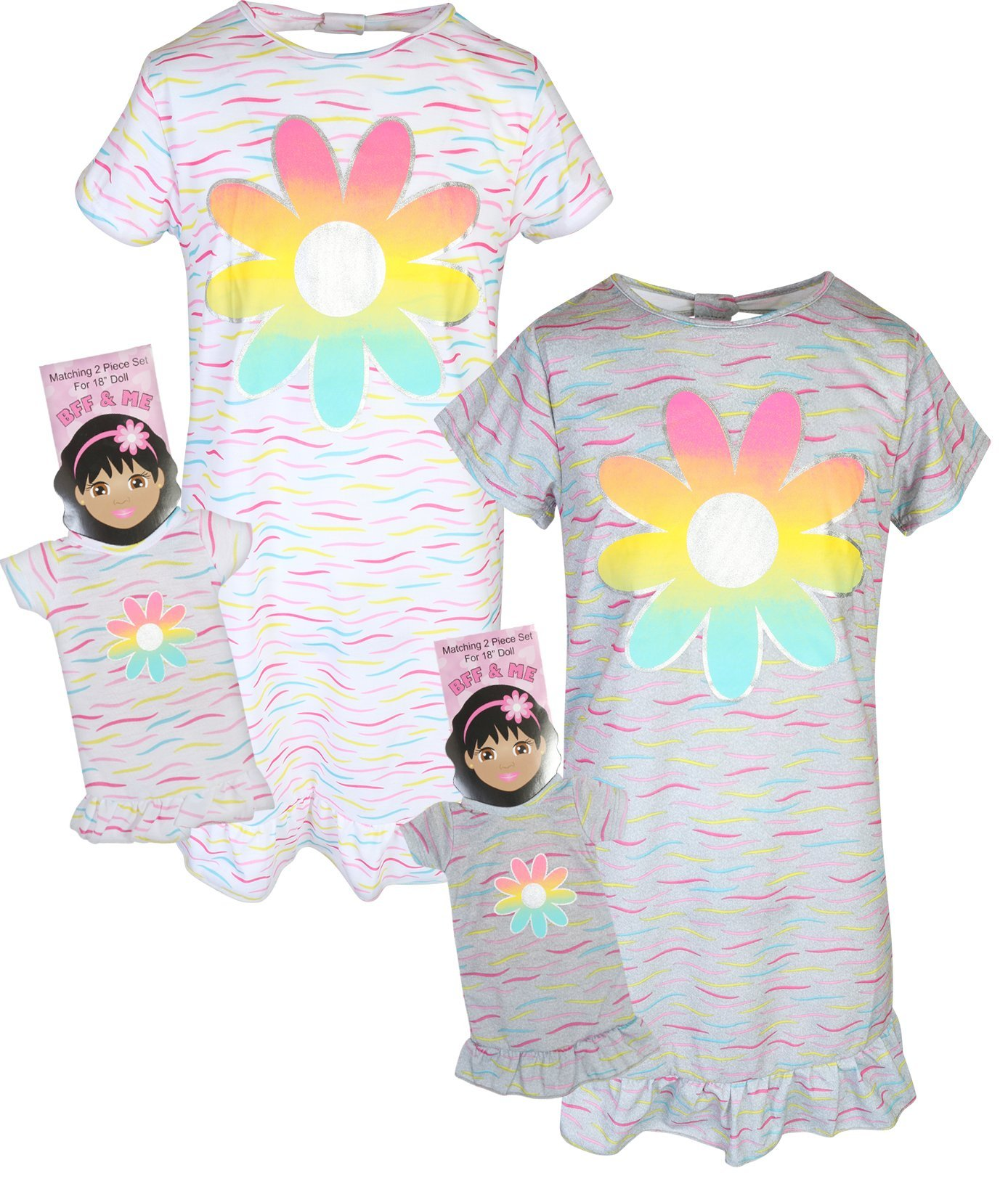 BFF & ME Girls Nightgown Pajama Set with Matching Doll Pajama (2 Pack), Flower, Size 10/12'