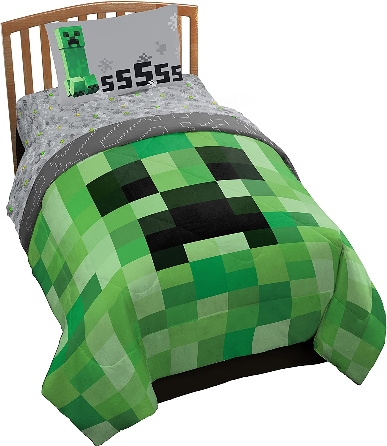 Jay Franco Minecraft Creeper 11 Piece Twin Bed Set (Offical Product)