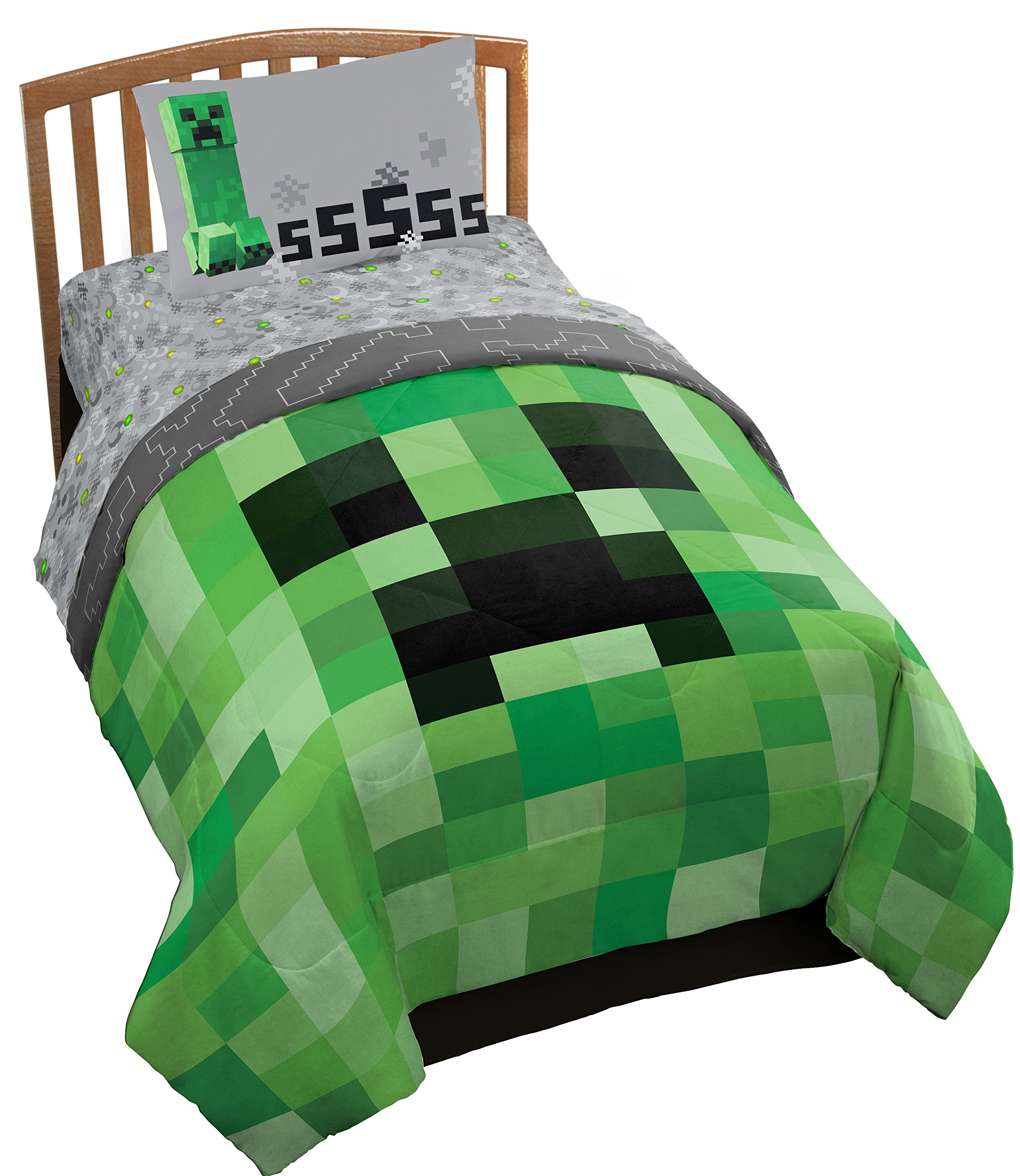 Jay Franco Minecraft Creeper 5 Piece Full Bed Set - Includes Reversible Comforter & Sheet Set - Super Soft Fade Resistant Microfiber - (Official Minecraft Product)