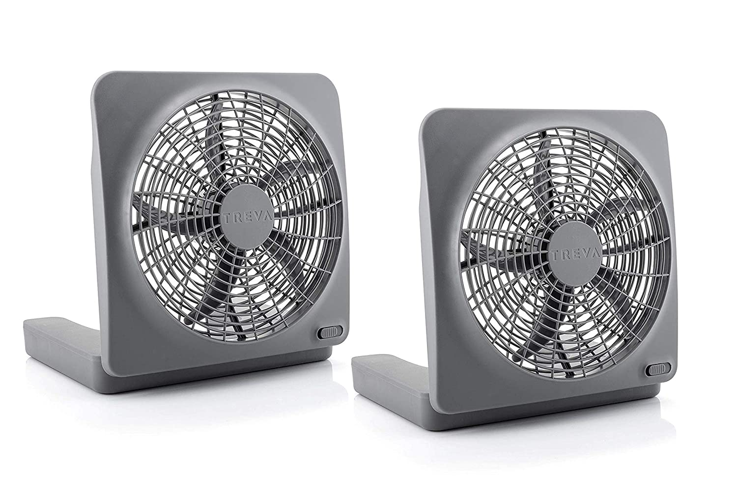 O2COOL Treva 10 Inch Portable Desktop Air Circulation Battery Powered Fan 2 Speed Control, Compact Folding and Tilt Design w AC Adapter 2 PACK