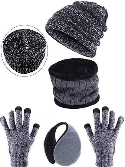 c737417384 Blulu 4 Pieces Ski Warm Set Includes Winter Beanie Hat Circle Scarf Outdoor  Gloves and Ear