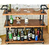 DOFURNILIM Industrial Bar Carts/Serving Carts/Kitchen Carts/Wine Rack Carts on Wheels with Storage - Industrial Rolling Carts