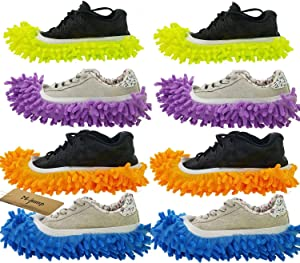 M-jump 8 PCS 4 Pairs Duster Mop Slippers Shoes Cover, Multi Function Chenille Fibre Washable Dust Mop Slippers Floor Cleaning Shoes for Bathroom, Office, Kitchen, House Polishing Cleaning