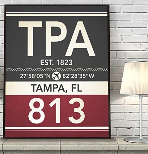 Amazon.com: Tampa Florida TPA 813 Vintage Airport Area Code Map ...
