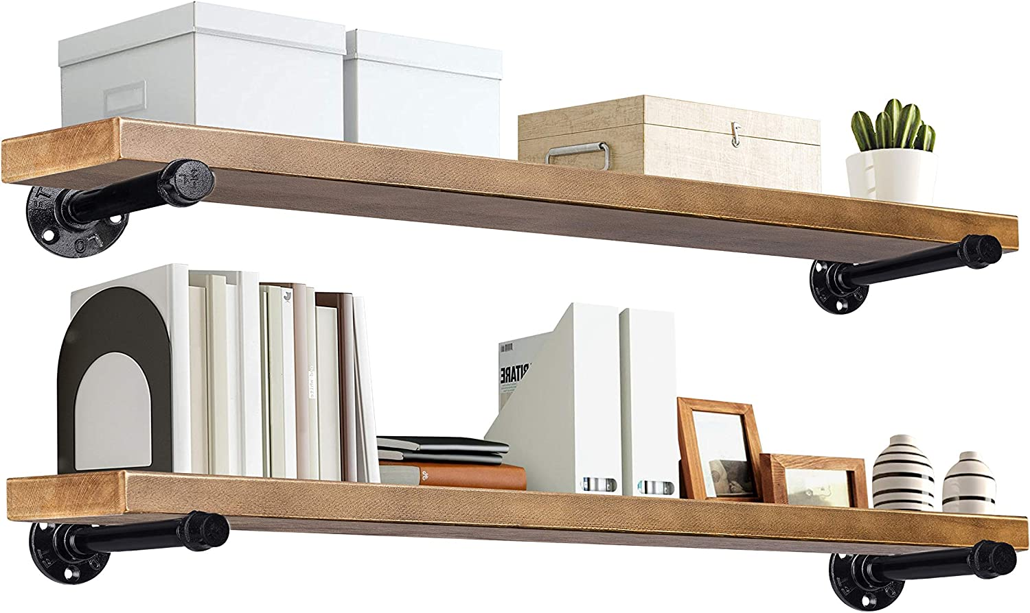 """TEN49 Industrial Wood Shelf - 36"""" Espresso Rustic Wooden Wall Shelves with Iron Pipes - Contemporary Interior Decor Floating Shelving with Pipe Brackets - Farmhouse Style Bookshelf Set of 2"""