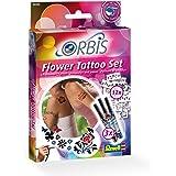 Orbis 30300 Flower Tattoo Set - Set para hacer tatuajes por aerógrafo (incluye 3 cartuchos de tinta y 12 plantillas de flores)
