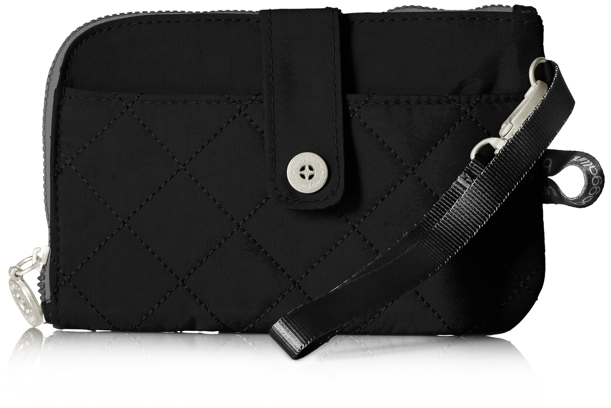 Baggallini Women's Rfid Passport and Phone Wristlet, Black/Charcoal, One Size
