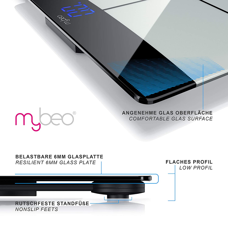 f/ür iOS und Android Bluetooth K/örperfettwaage CSL-Computer Mybeo K/örperwaage Personenwaage Digitale Multifunktionswaage K/örperanalysewaage mit App