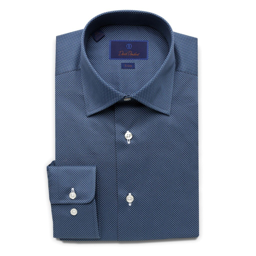 David Donahue Men's Trim Fit Micro Dot Printed Dress Shirt, Navy, 17.5'' Neck 34/35 Sleeve