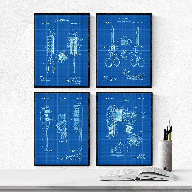 Nacnic Azul - Pack de 4 Láminas con Patentes de PELUQUERIA. Set de Posters con inventos y Patentes Antiguas. Elije el Color Que Más te guste. Impreso en Papel de 250 Gramos: