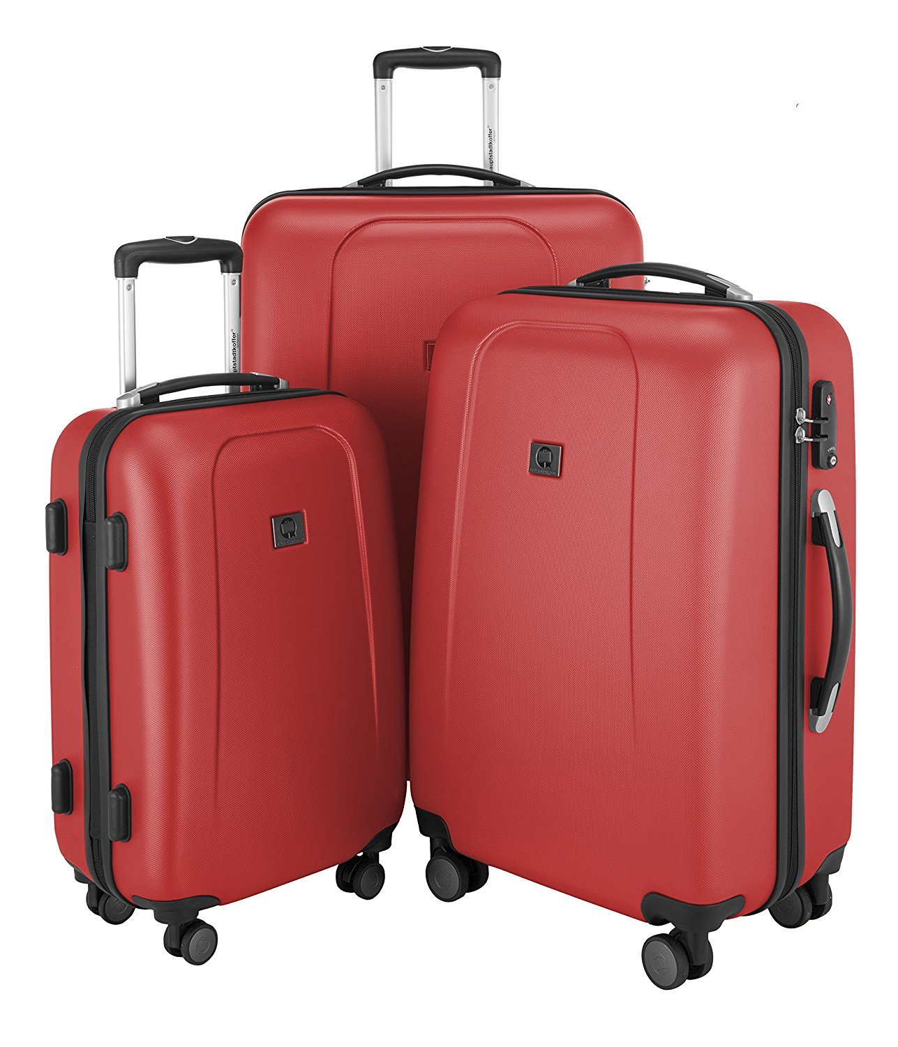 "HAUPTSTADTKOFFER - Wedding - Set of 3 Hard-side Luggage Glossy Suitcase Hardside Spinner Trolley Expandable (20"", 24"" & 28"") TSA Red"