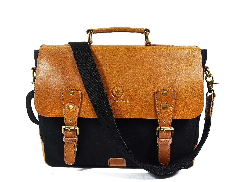 """14.5"""" Vintage Handmade Leather Canvas Messenger Bag  dffd903e49baa"""