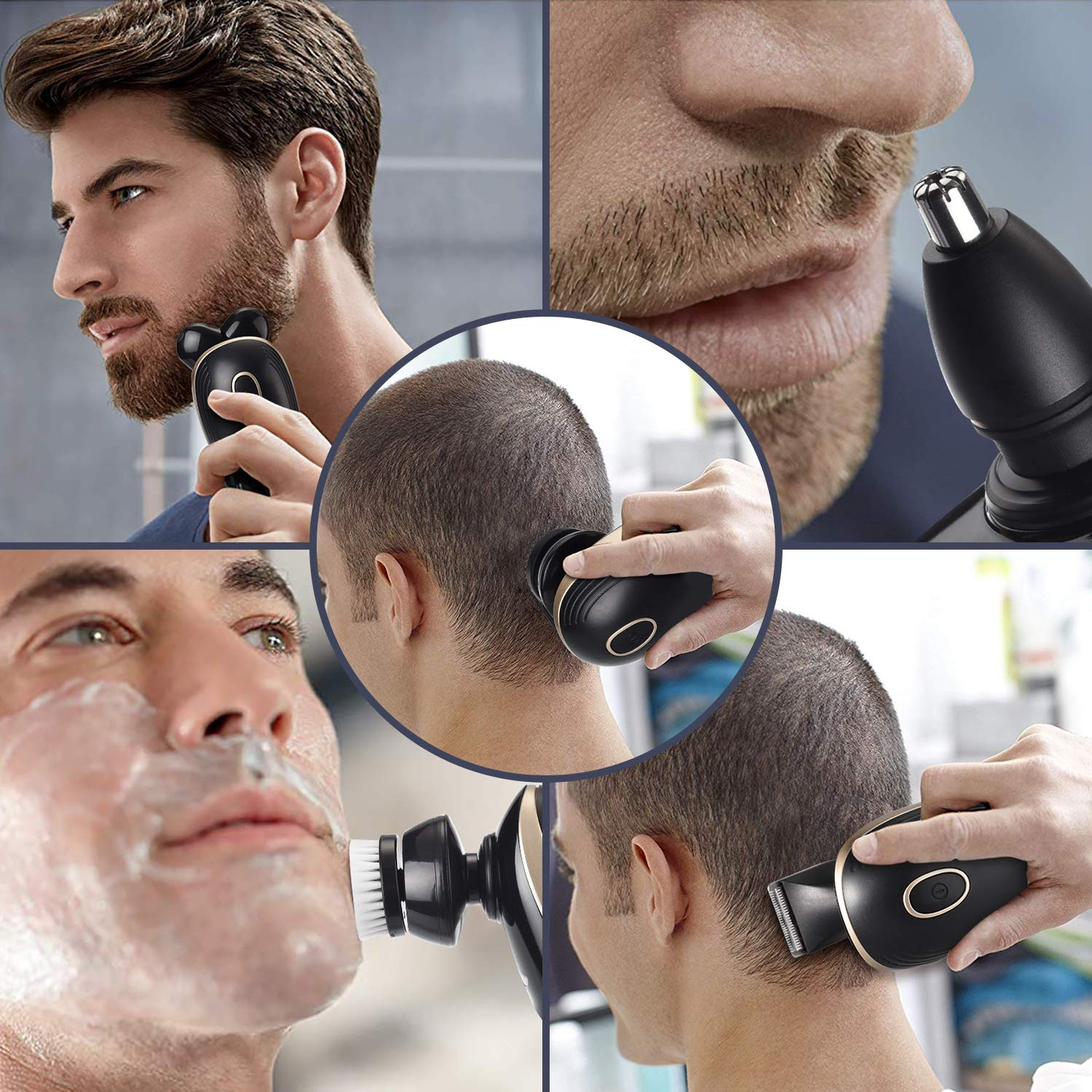 Men\'s 5-in-1 Electric Shaver & Grooming Kit Men Rotary Shaver Beard Trimmer with Five-Headed Beard, Hair Razor for a Perfect Bald Look, Rechargeable Cordless Wet Dry