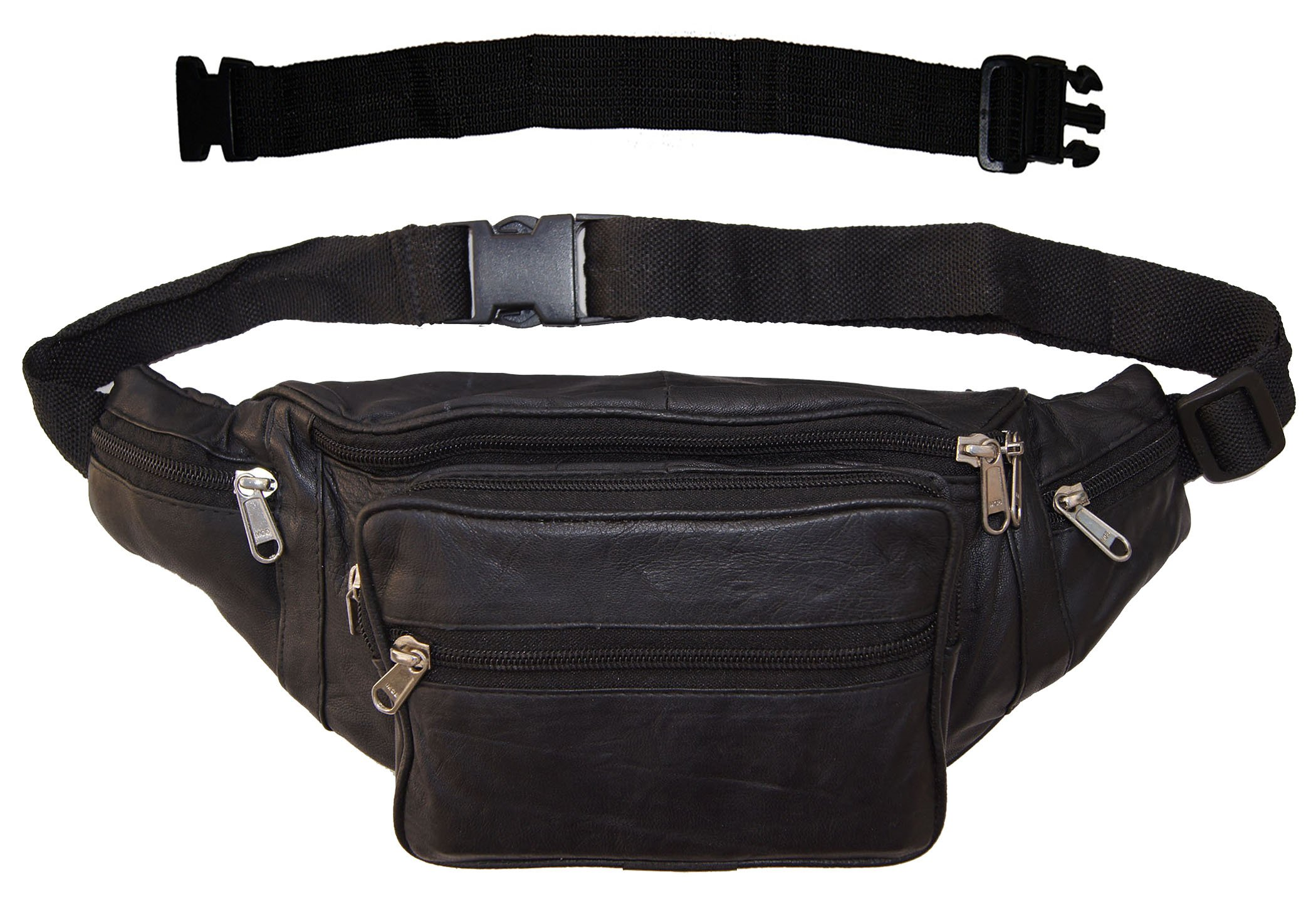 AG Wallets Biker's Leather Fanny Pack Pouch With 18'' Extension