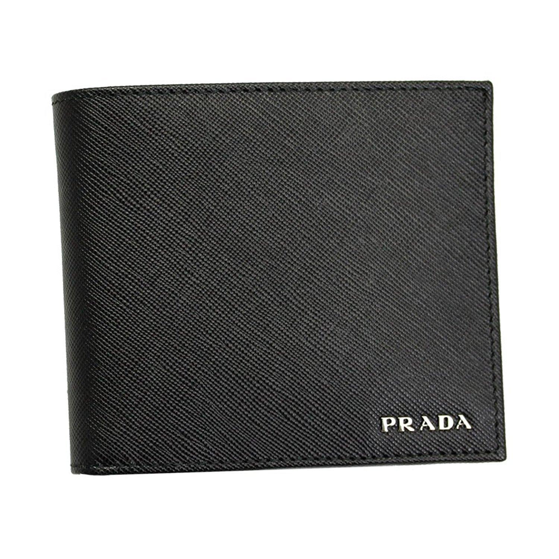 PRADA (プラダ) メンズ 二つ折り財布 型押しレザー2MO738 NERO+MERCURIO [並行輸入品] B077CMQ571