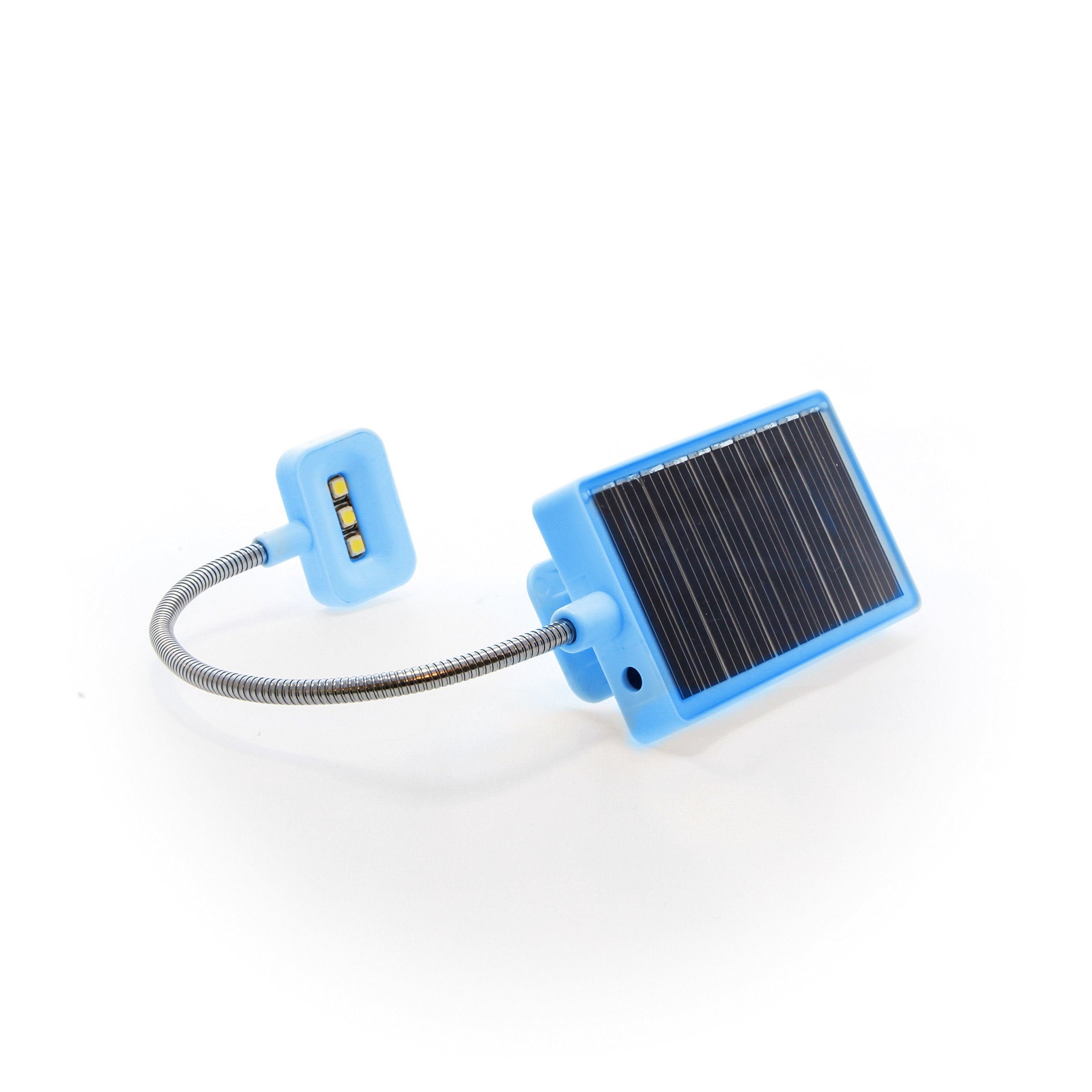 Solar Rechargeable Book Light Ideal for Reading in Bed - Solar or USB Rechargeable LED Clip-On Reading Light - 2 Light Settings Suitable for Bed Reading and Car Reading - Perfect for Kids (Blue)