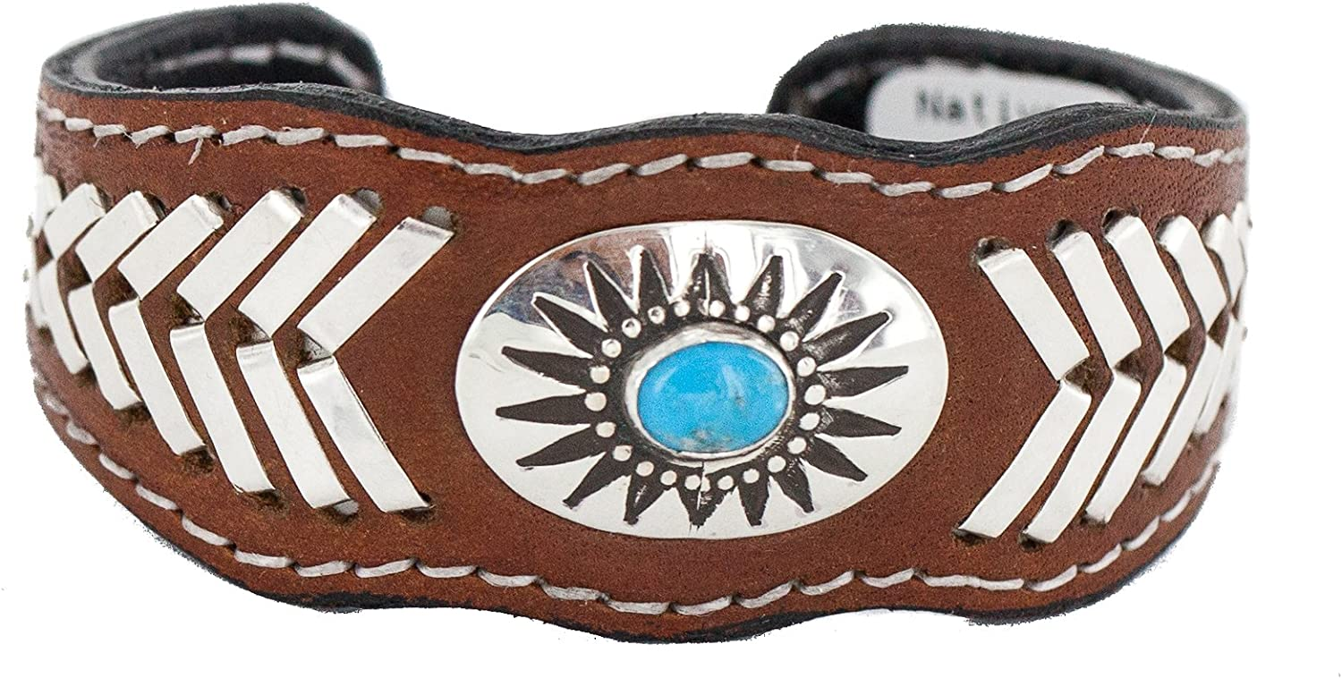 $400Tag Certified Silver Navajo Natural Turquoise Native Leather Bracelet 12784-3 Made by Loma Siiva