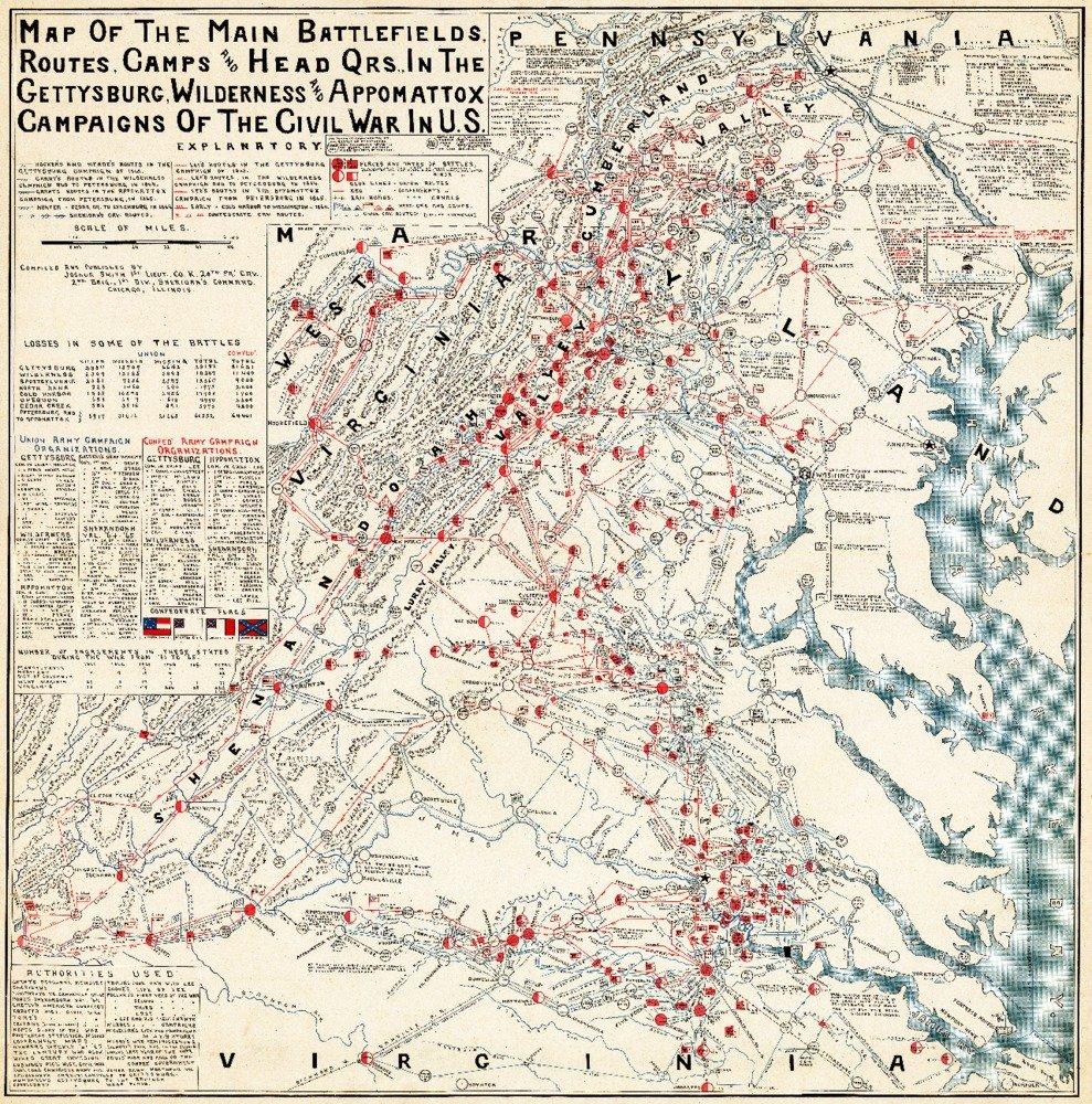 ゲティスバーグの戦い – Civil WarパノラマMap 36 x 54 Giclee Print LANT-20015-36x54 36 x 54 Giclee Print  B01M30N6Q4