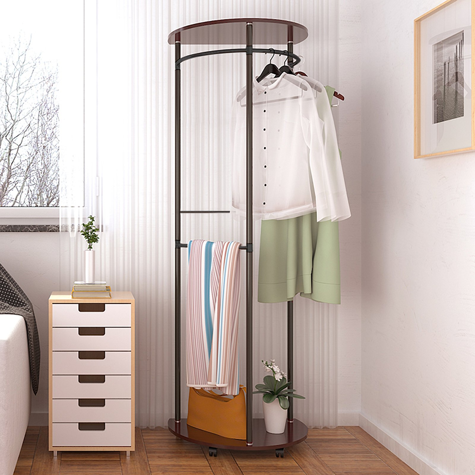 Magshion Entryway Coat Rack with Storage Shoe Organizer Hanger Stand With 5 Hooks