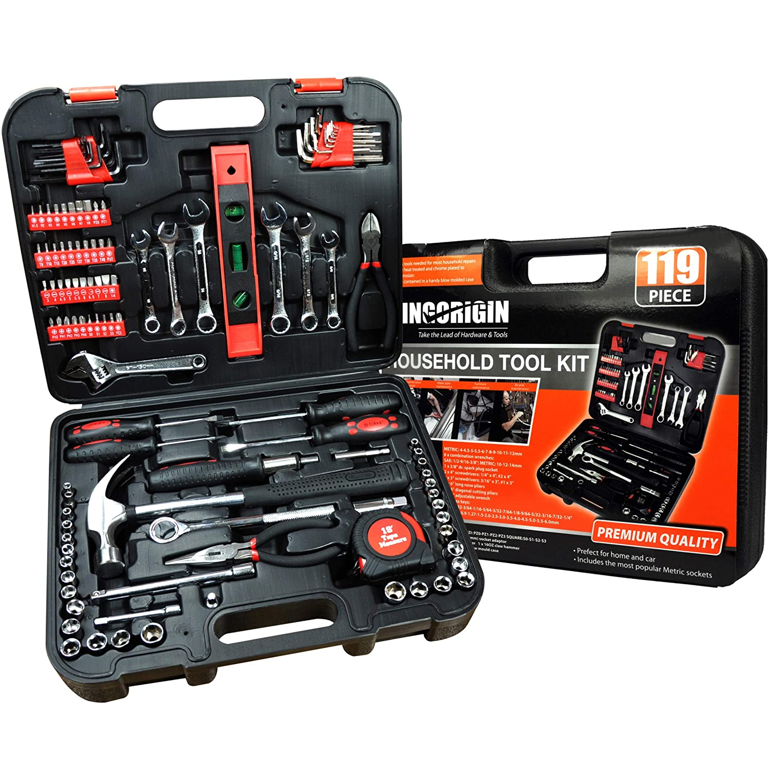 119piece Heavy Duty Professional Home Repair Tool Kits Home Tool Kit Home Repair Tools Multi Tools Set Homeowner Tool Kits Tool Sets Kit Tool