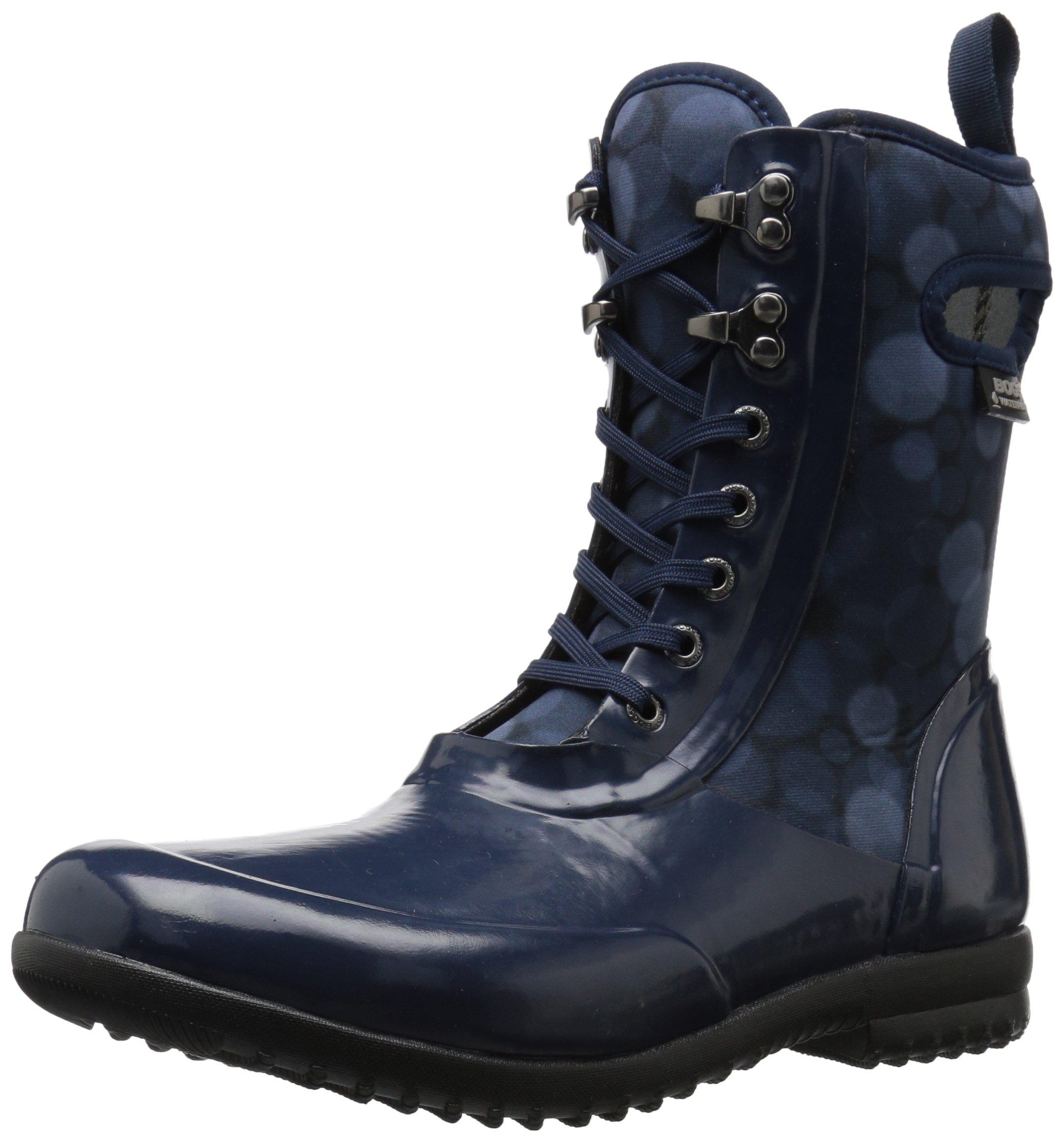 Bogs Women's Sidney Lace Rain Snow Boot,Dark Blue/Multi,7 M US