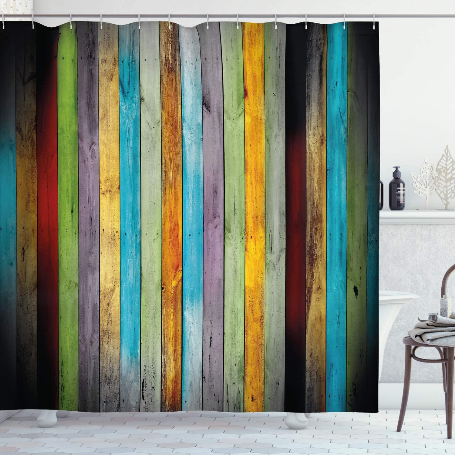 "Lunarable Colorful Shower Curtain, Vertical Wood Planks in Carpentry Oak Timber Rustic Country Life, Cloth Fabric Bathroom Decor Set with Hooks, 84"" Long Extra, Brown"