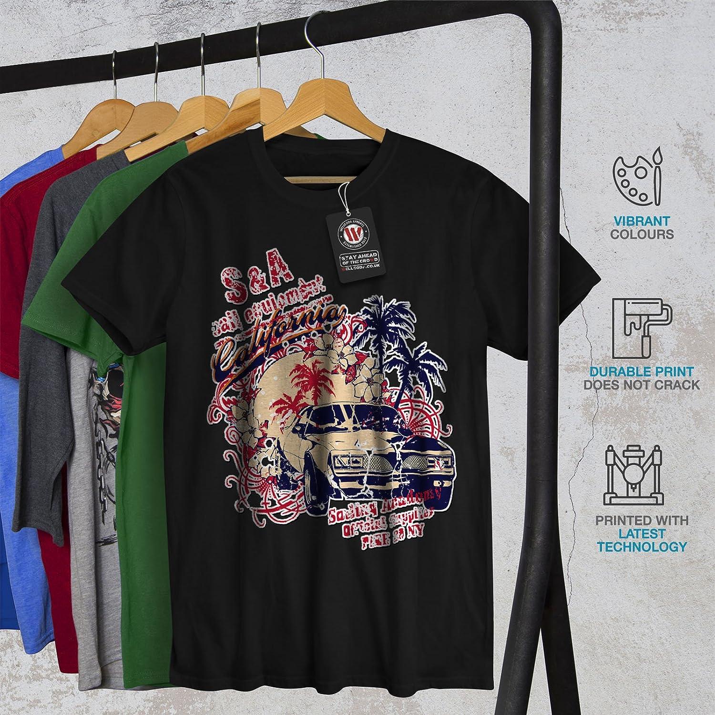Automobile Graphic Design Printed Tee Wellcoda Vintage Car Palm Mens T-shirt