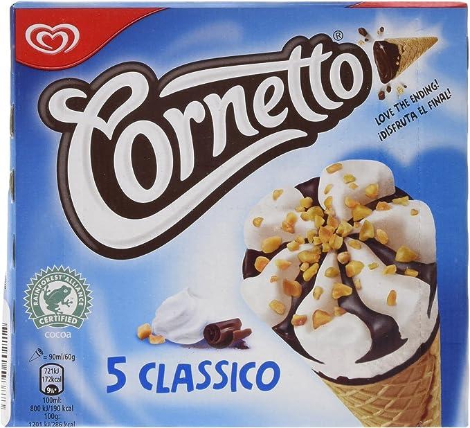 Cornetto Clásico - Helados sabor nata, 5 x 90 ml: Amazon.es ...