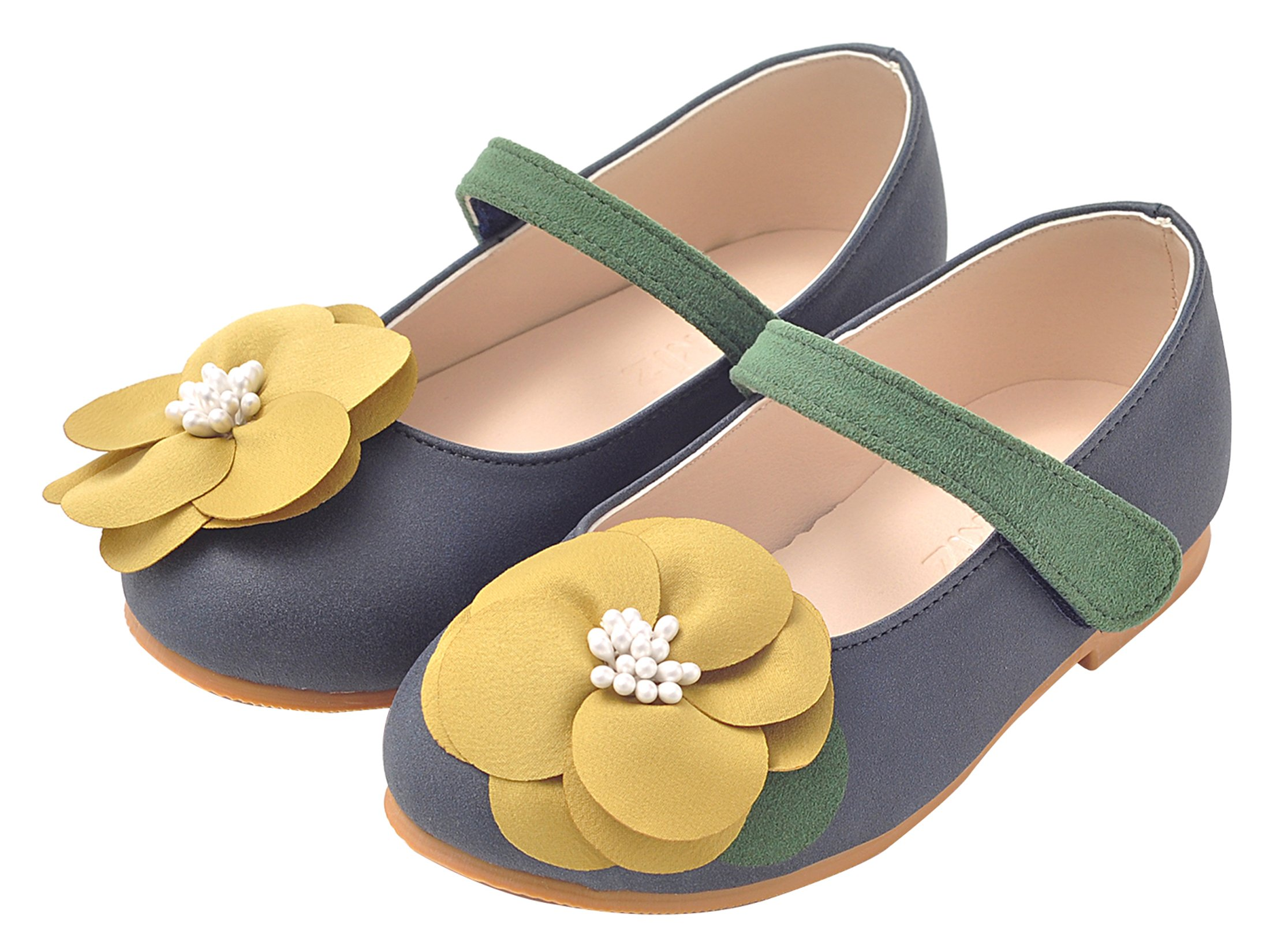 Ozkiz Girls Navy Flats Mary Jane Shoes dien Flower 11m US Little Kids