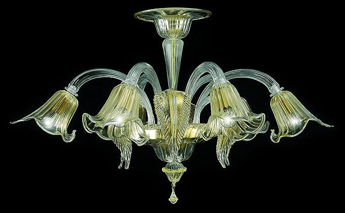 Ca Fenice cristal dorado lámpara de techo 6 luces: Amazon ...