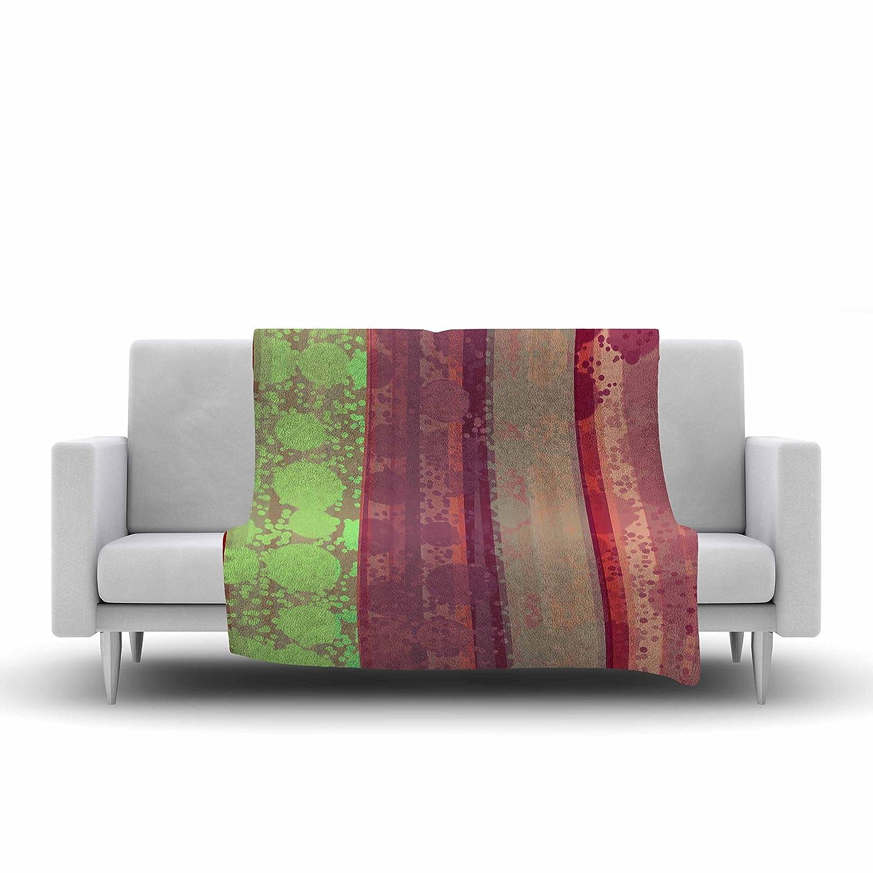 60 by 50-Inch Kess InHouse Cvetelina Todorova Magic Carpet Green Maroon Fleece Throw Blanket 60 X 50