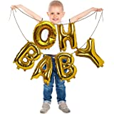 Oh Baby Gold Metallic Foil Letter Mylar 16 Inch Pack of 6 Balloon Banner Garland for Girl or Boy Baptism Christening…