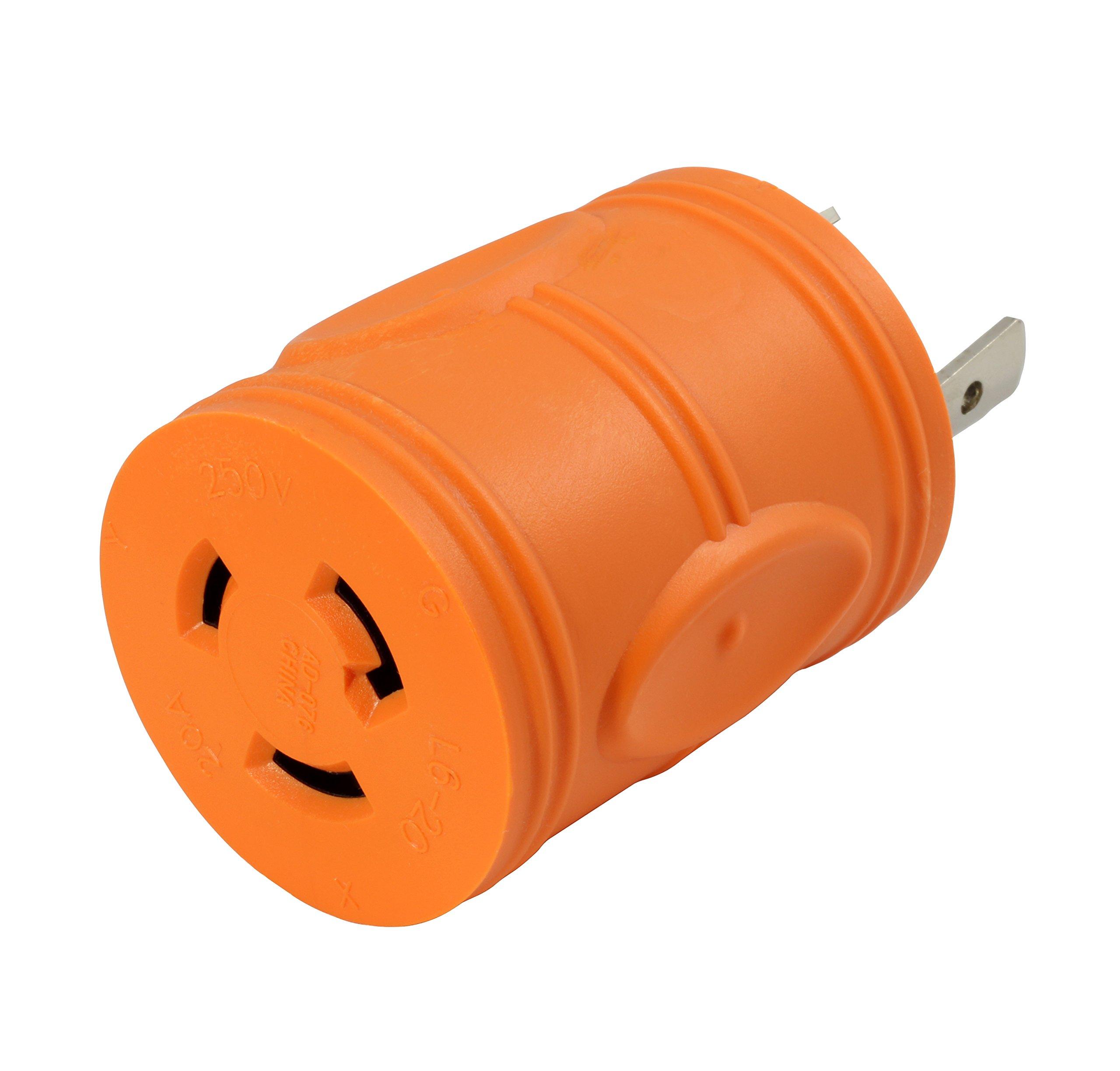 AC WORKS [ADL630L620] Plug Adapter L6-30P 30Amp 250Volt Male Plug to L6-20R 20Amp 250Volt Locking Female Connector