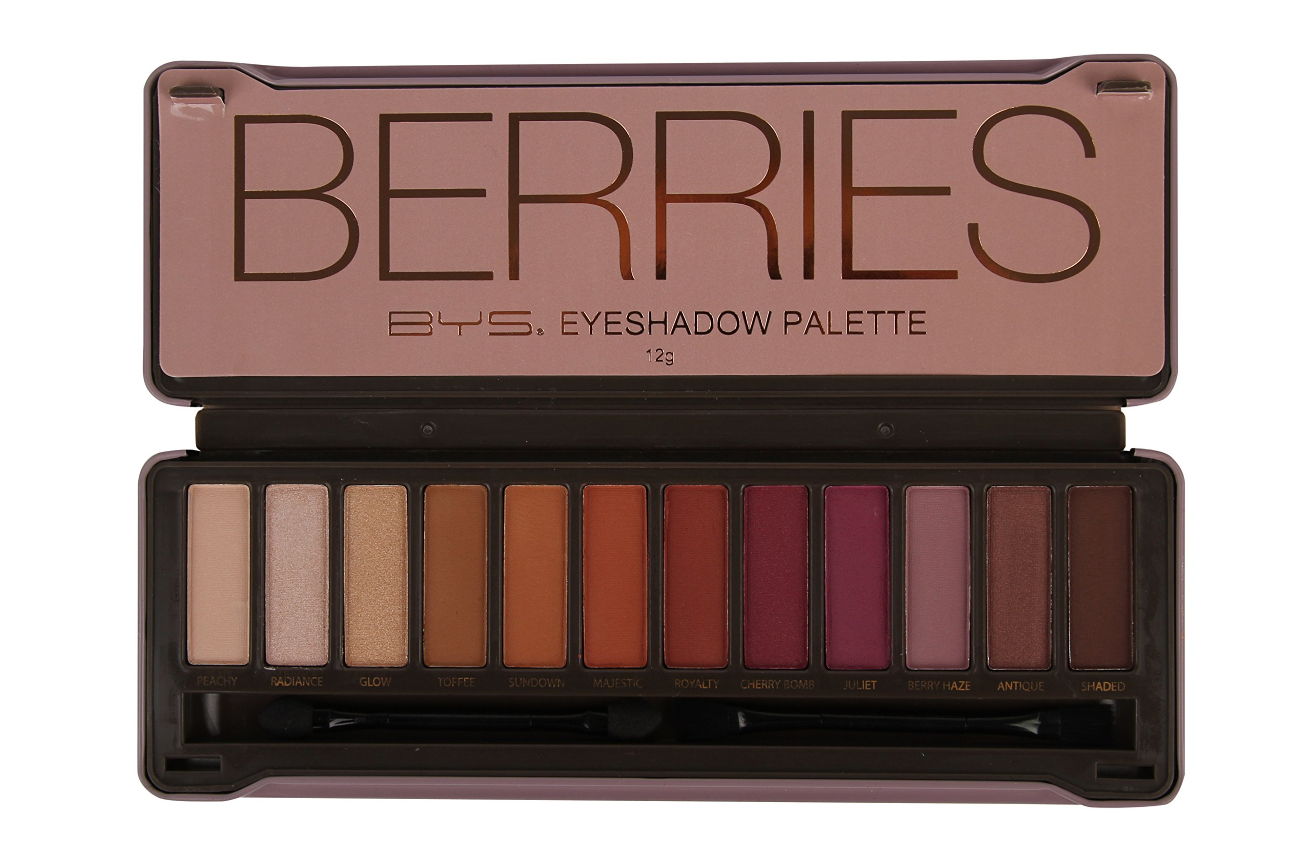 BYS Berries Eyeshadow Palette Tin with Mirror Applicator 12 Matte & Metallic Shades