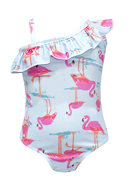3740dc0c54f91d Amazon.com: stylesilove Baby Toddler Girls Lovely Flamingo Patterned  Ruffled-Tier One-Piece Swimsuit One Shoulder Swimwear (Flamingos/One  Shoulder, ...