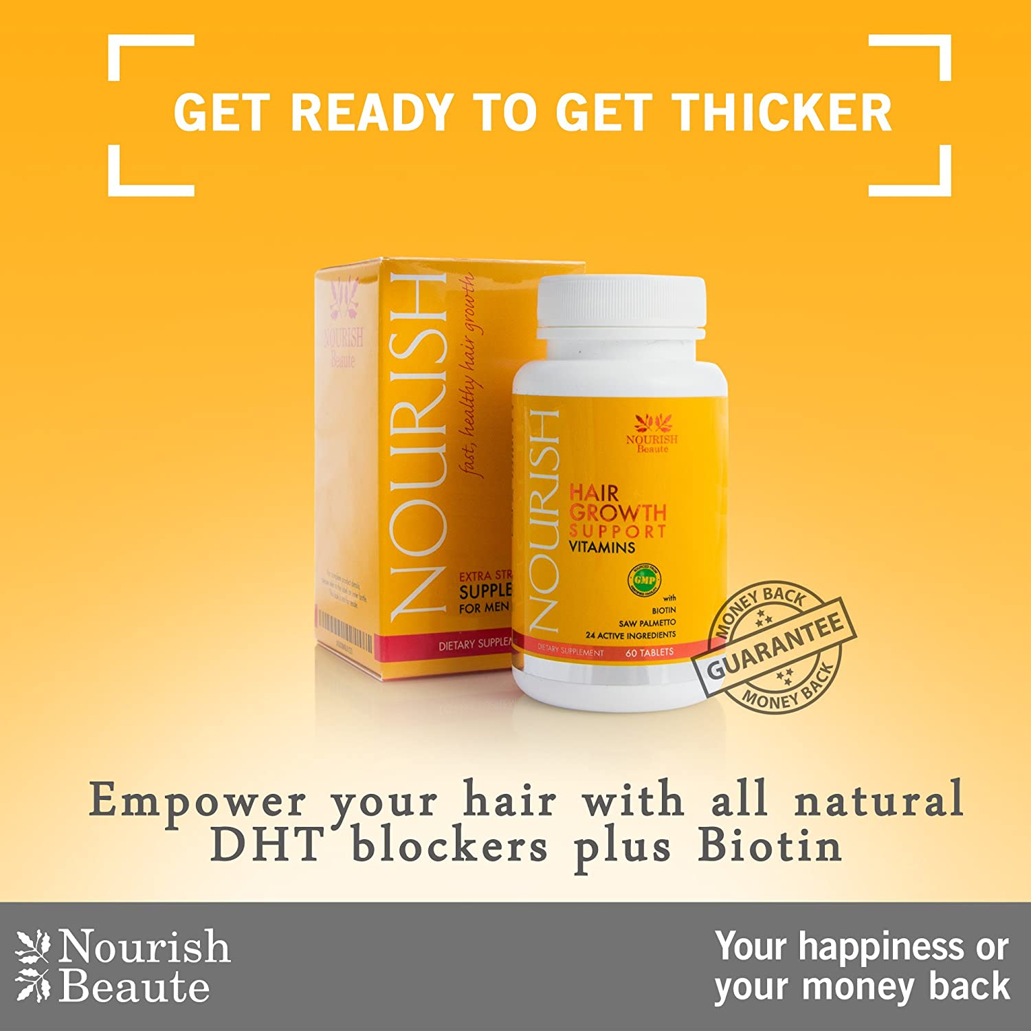 Amazon : Nourish Beaute Hair Loss Supplement  With Biotin And Natural  Dht Blockers  Faster, Thicker Hair Regrowth For Men And Women  1 Month  Supply :