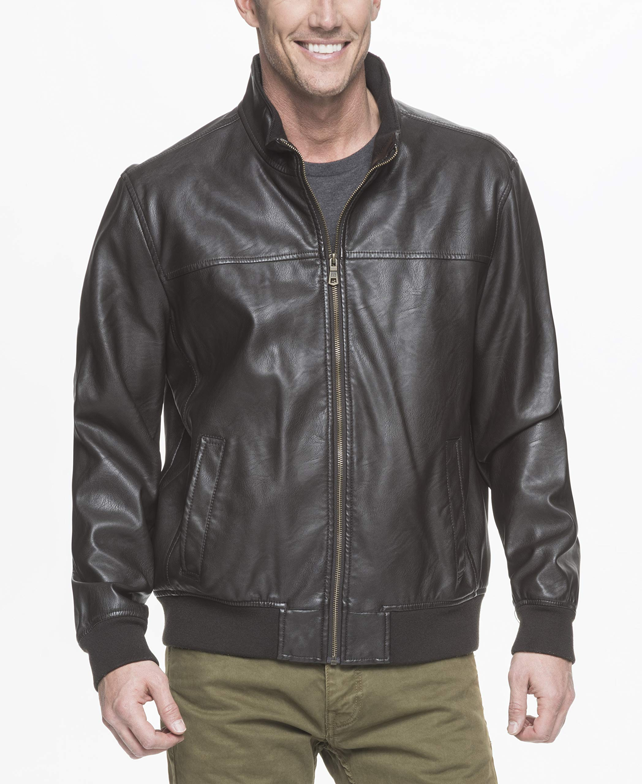 Tommy Hilfiger Men's Smooth Lamb Faux Leather Unfilled Bomber Jacket, Dark Brown, XXL by Tommy Hilfiger